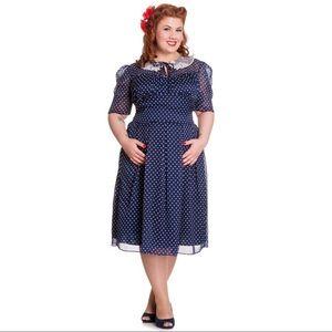HELL BUNNY Navy & White Polka Dot Cynthia Dress